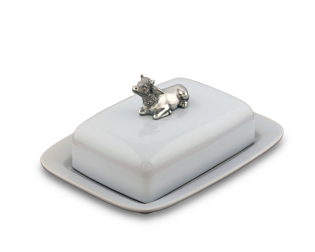 Vagabond House Garden Friends Stoneware Butter Dish with Pewter Mabel the Cow G340MC
