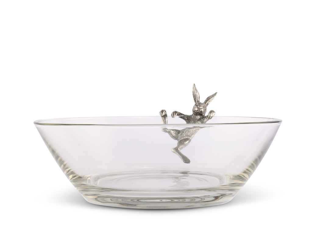 Vagabond House Garden Friends Climbing Bunny Glass Serving Salad Bowl G413CB