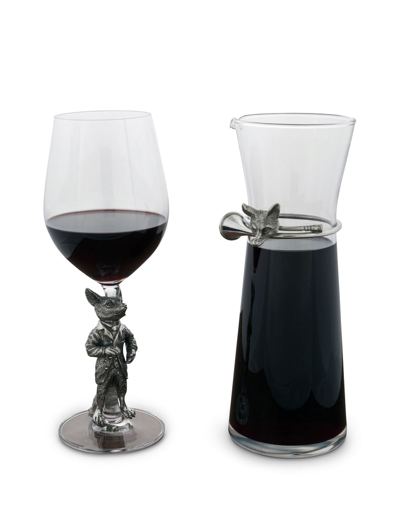 Vagabond House Morning Hunt Hunting Dressed Fox Wine Glass G444DF