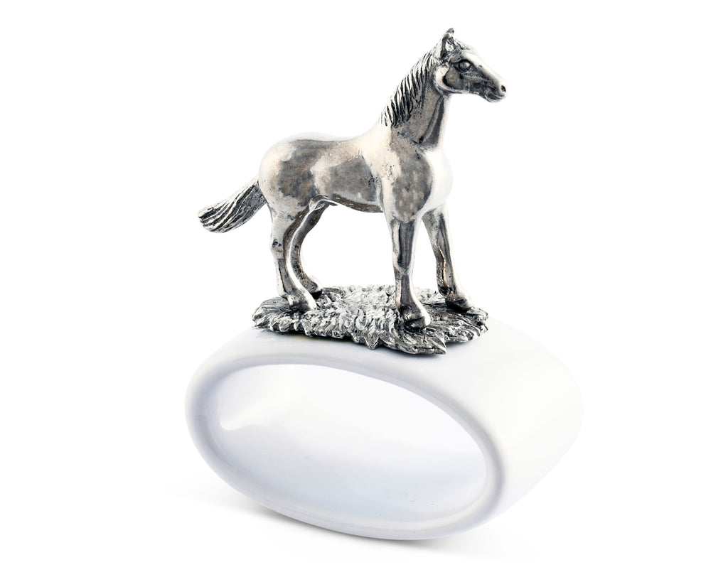 Vagabond House Equestrian Thoroughbred Stoneware Napkin Ring H316H-1