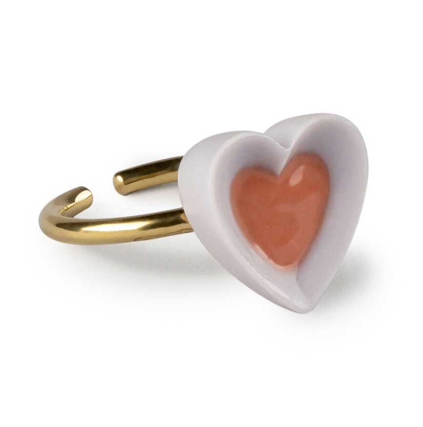 Lladro Hearts Metal Ring Violet & Red 01010271