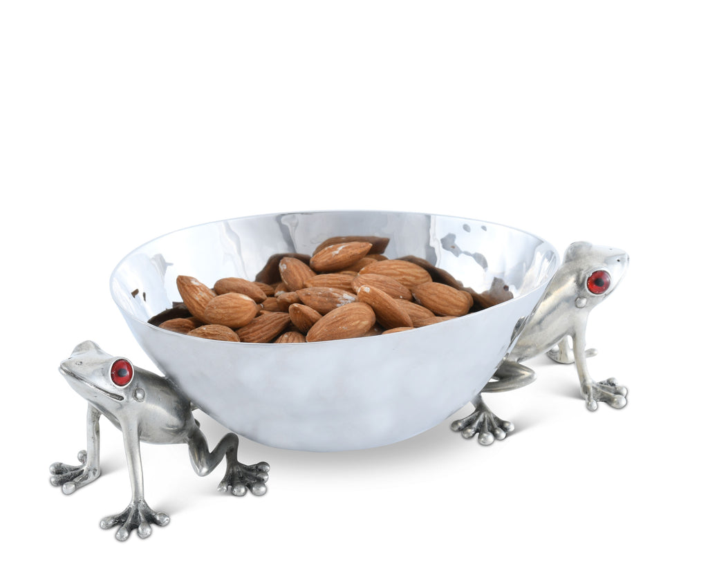 Vagabond House Garden Friends Happy Frog Dip Bowl Stainless Steel J813FS