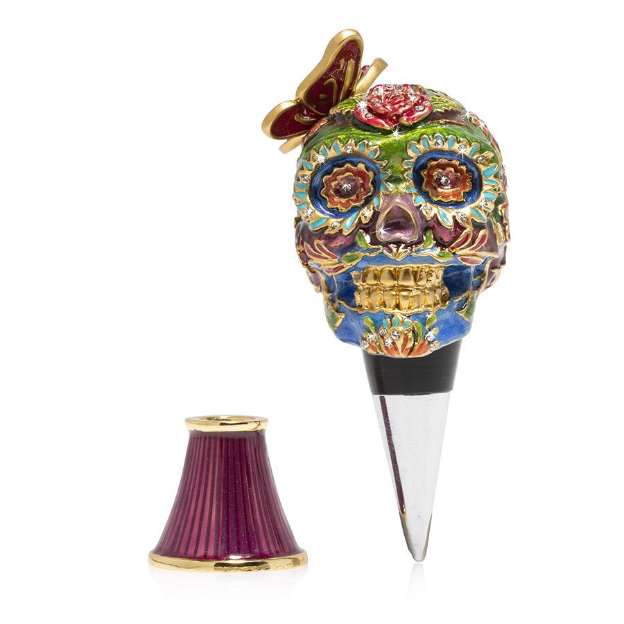 Jay Strongwater Calavera Skull Wine Stopper & Stand SDH6646-289