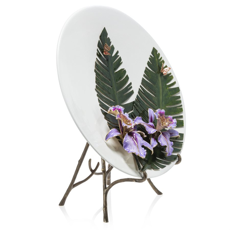 Jay Strongwater Catalina Orchid & Banana Leaf Platter With Stand SDH2529-256