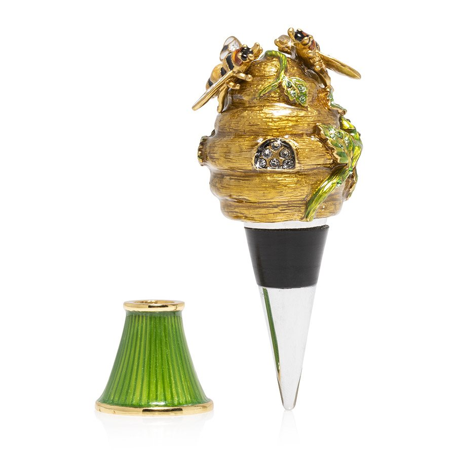 Jay Strongwater Mead Beehive Wine Stopper and Stand SDH6647-280