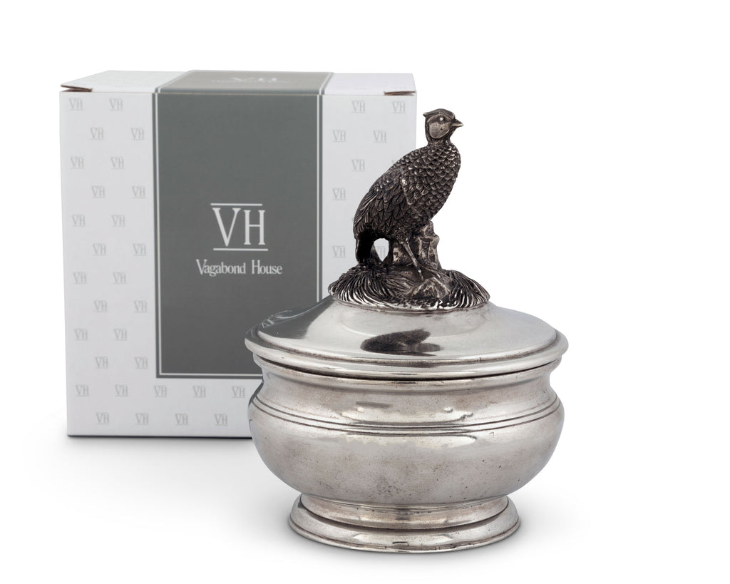 Vagabond House Morning Hunt Pewter Pheasant Sauce Bowl K106P