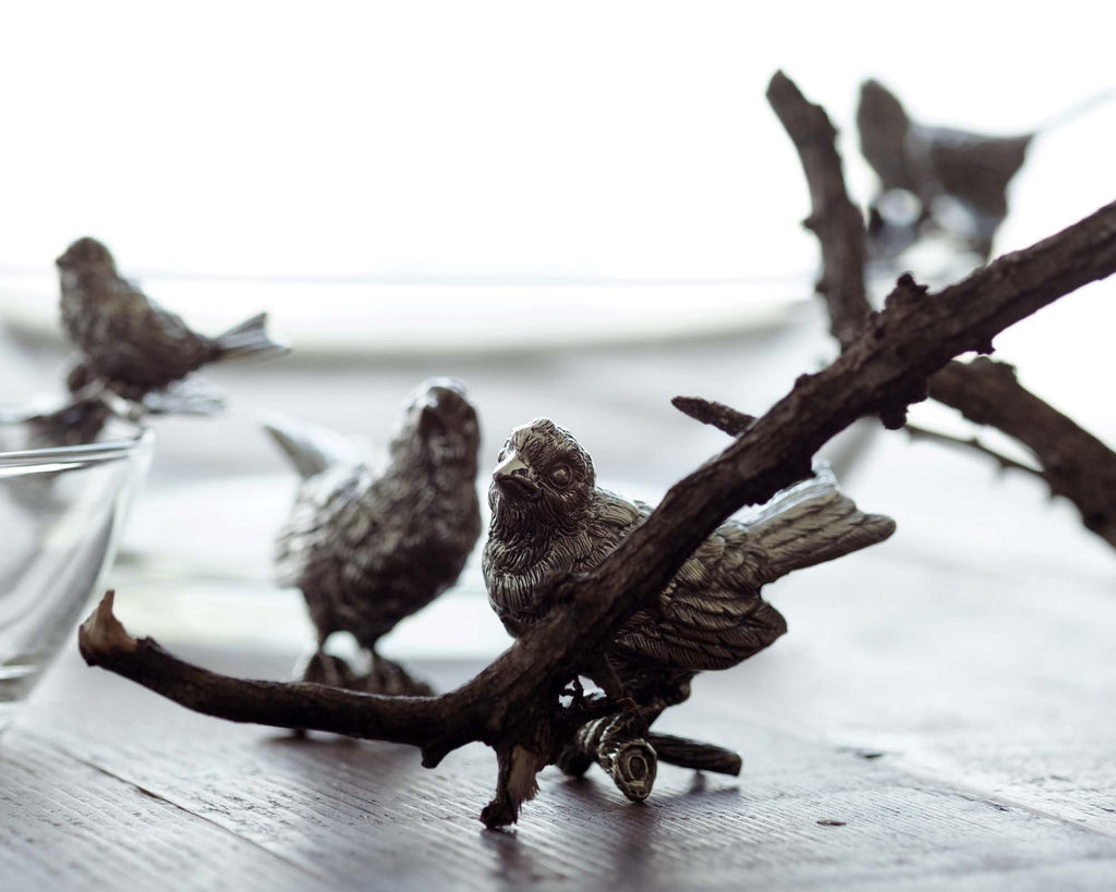 Vagabond House Song Bird Pewter Song Birds Salt & Pepper Set K116