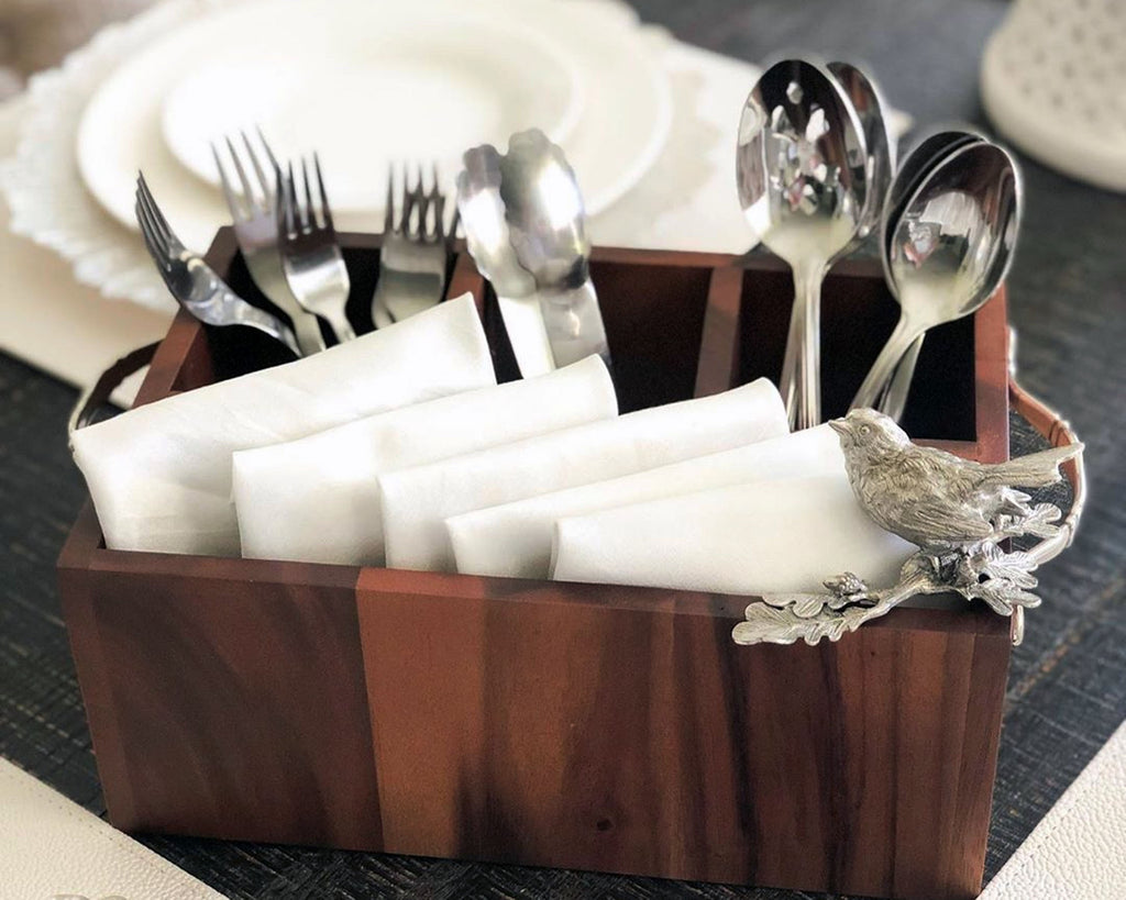 Vagabond House Song Bird Song Bird Wood Flatware Caddy K264SB