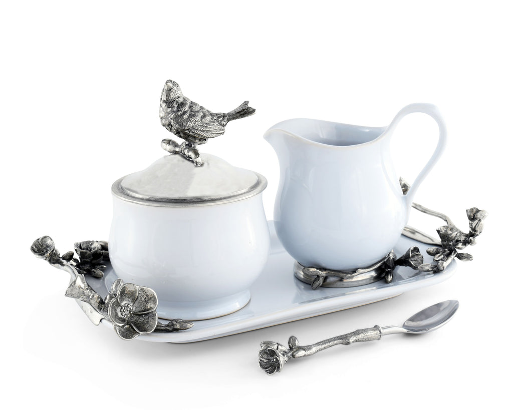 Vagabond House Song Bird Stoneware Creamer Set Pewter Song Bird K317K