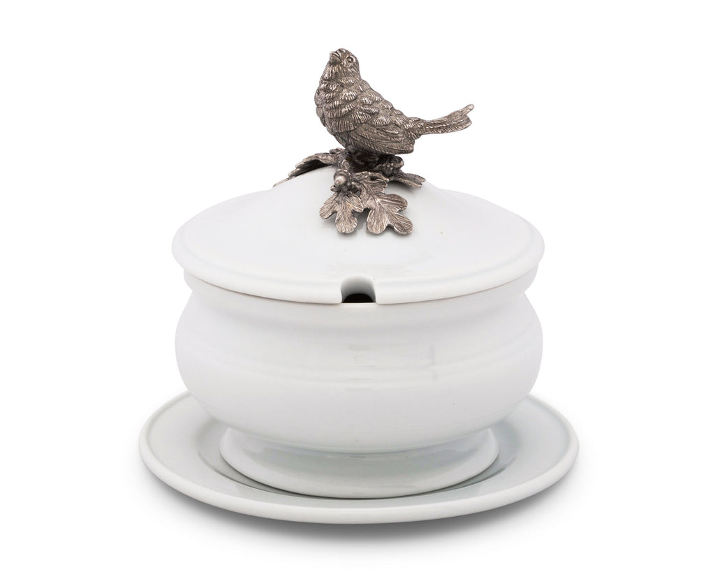 Vagabond House Song Bird Songbird Porcelain Lidded Bowl K326SB