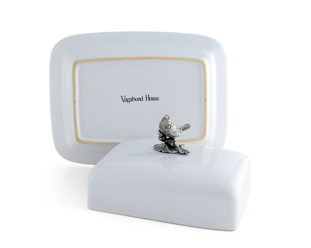 Vagabond House Song Bird Stoneware Butter Dish + Pewter Song Bird K340B