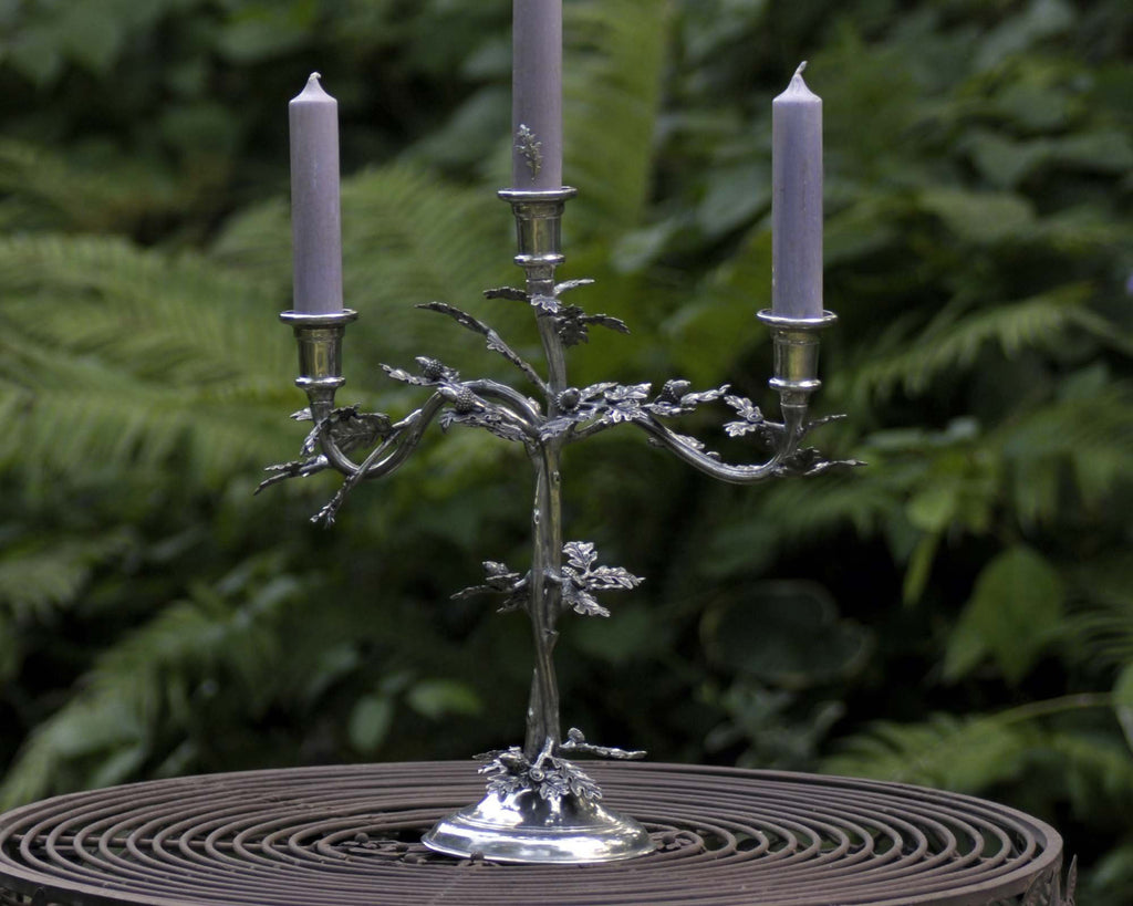 Vagabond House Majestic Forest Three Taper Pewter Oak Leaf Candelabrum L101M