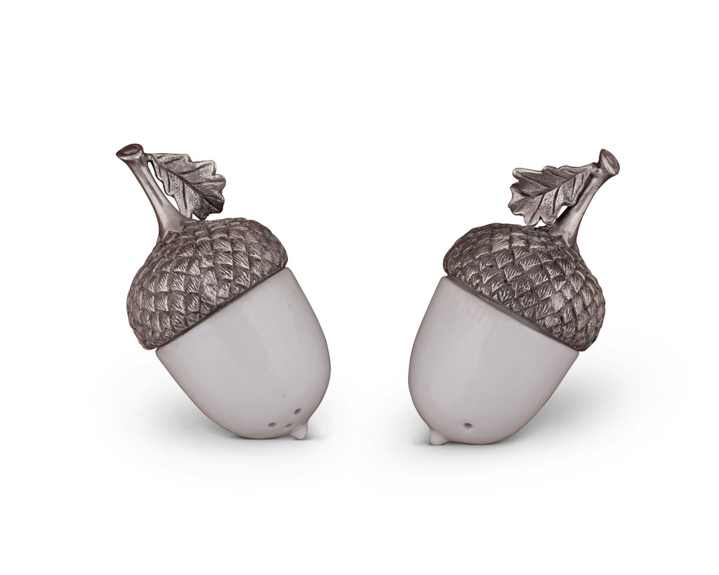 Vagabond House Majestic Forest Porcelain Acorn Salt and Pepper with Pewter Leaf L116LAP