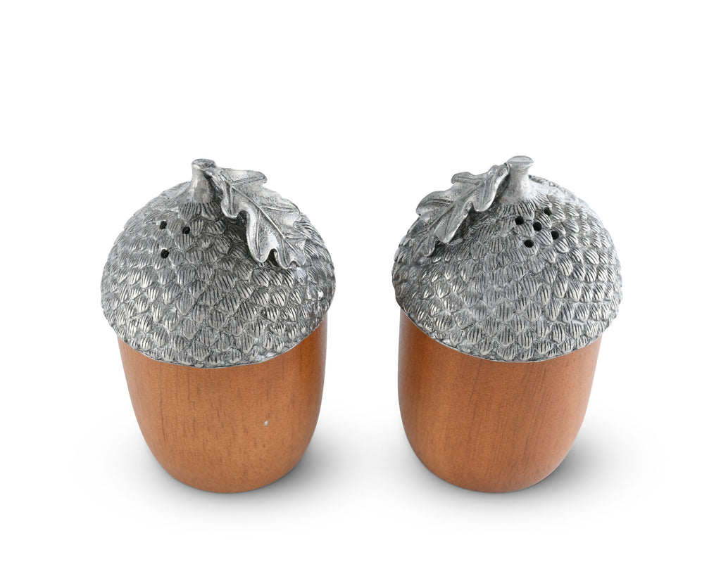 Vagabond House Majestic Forest Wood and Pewter Acorns Salt & Pepper Set L116W