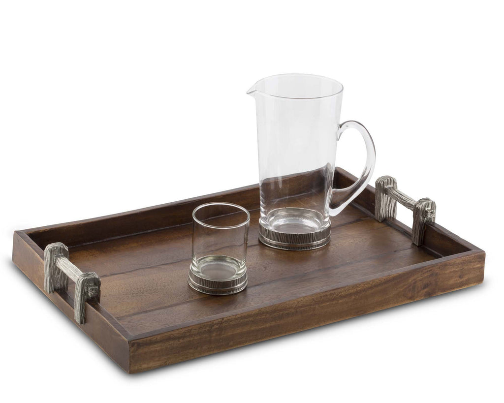 Vagabond House Majestic Forest Wood Tray with Faux Bois Handles L233FB