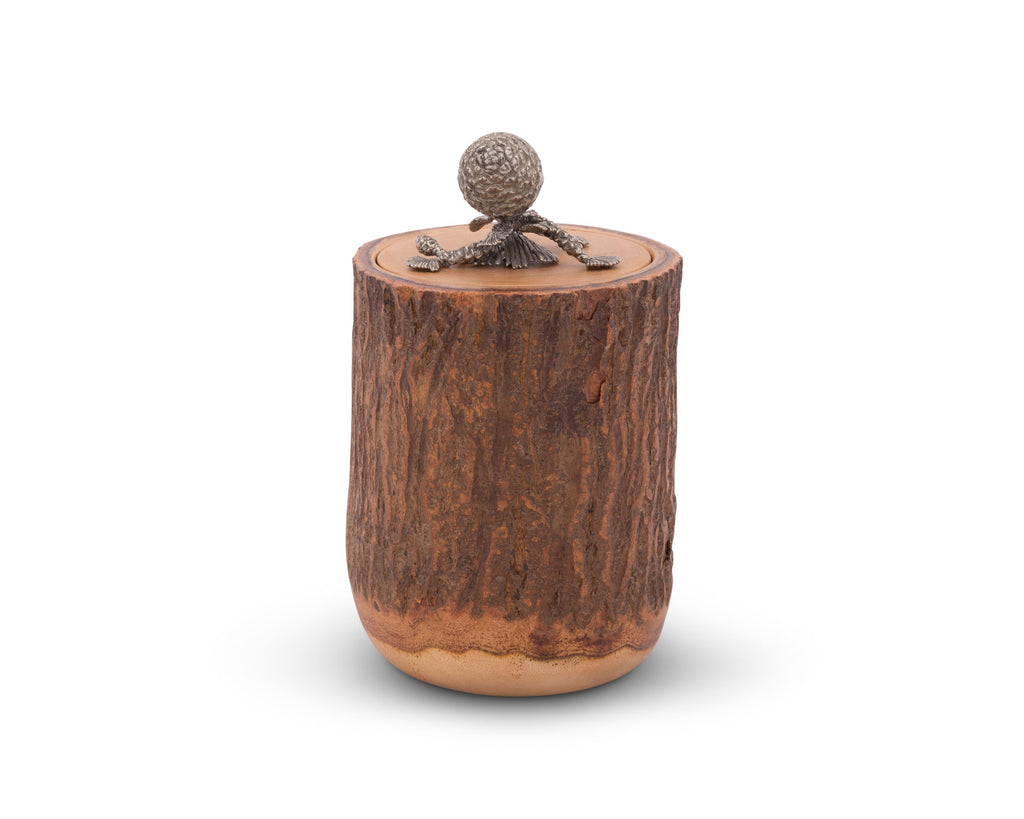 Vagabond House Majestic Forest Pine Cone Wood Canister L259PC