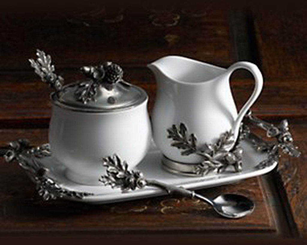 Vagabond House Majestic Forest Stoneware Creamer Set Pewter Acorn & Oak Leaf L317