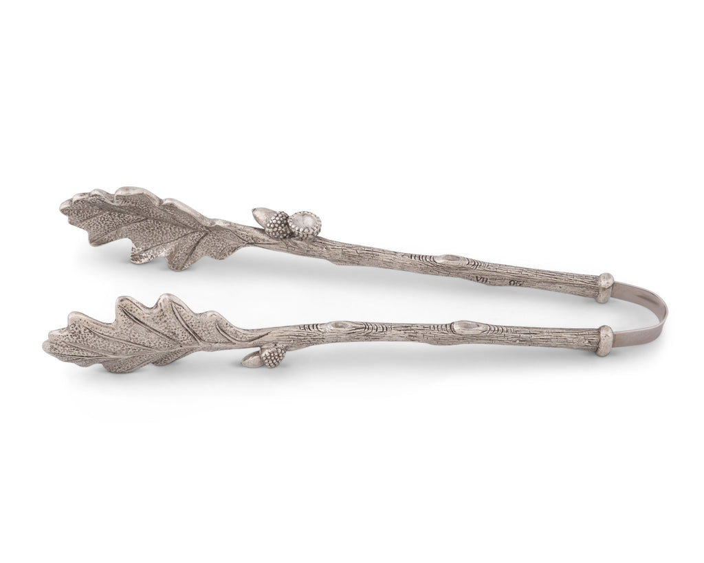Vagabond House Majestic Forest Pewter Oak Leaf Pattern Ice Bread Tongs L805AL