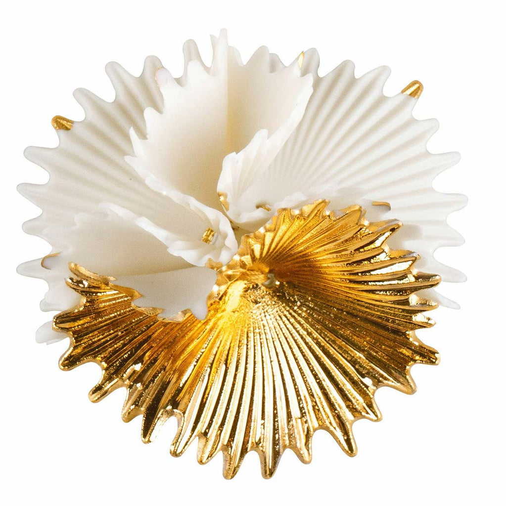 Lladro Actinia Brooch White & Golden Luster 01010291