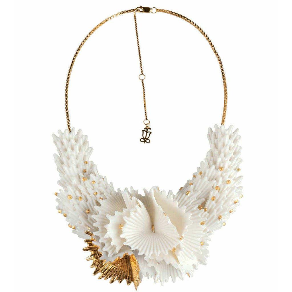 Lladro Actinia Necklace White & Golden Luster 01010286