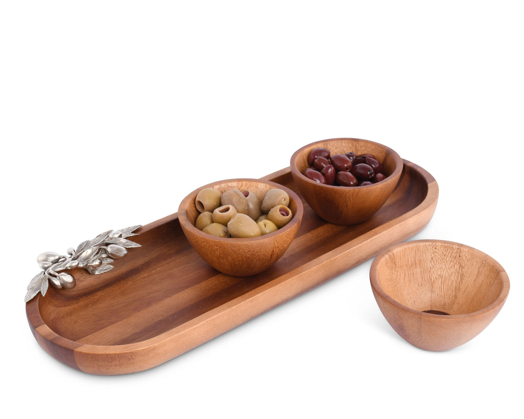 Vagabond House Olive Grove Olive Baguette Tray with Wood Bowls O224O