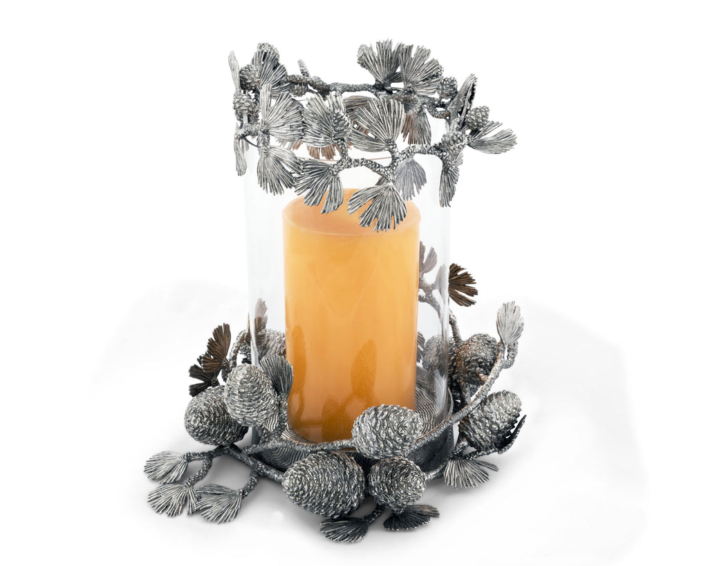 Vagabond House Majestic Forest Pewter Pine Cones Pillar Hurricane Centerpiece Q102X