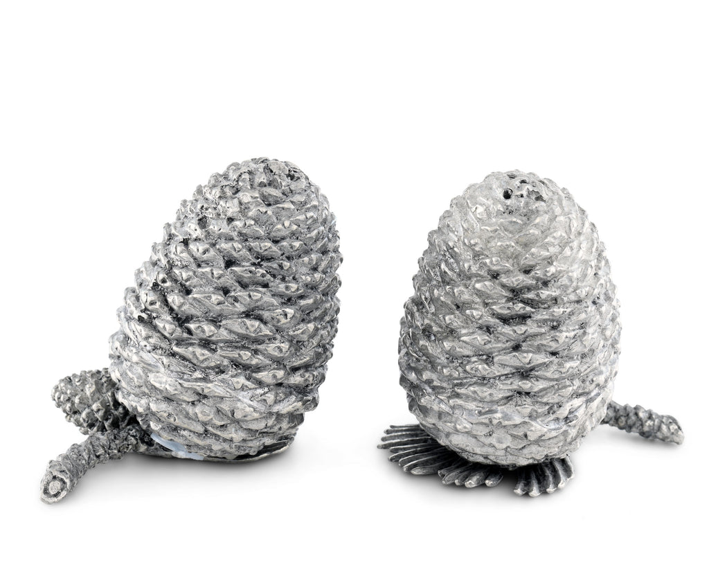 Vagabond House Majestic Forest Pewter Pine Cones Salt & Pepper Set Q116