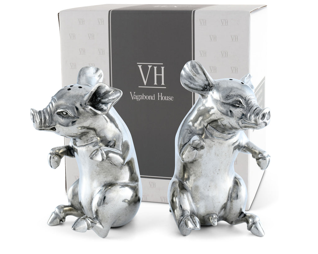 Vagabond House Garden Friends Happy Pigs Salt & Pepper Set R116P