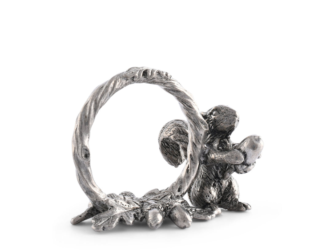Vagabond House Woodland Creatures Pewter Squirrel Branch Napkin Ring S115B-1
