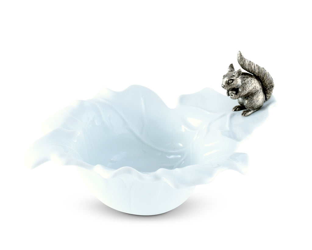 Vagabond House Woodland Creatures Fine Porcelain Leaf Bowl with Pewter Squirrel S309S