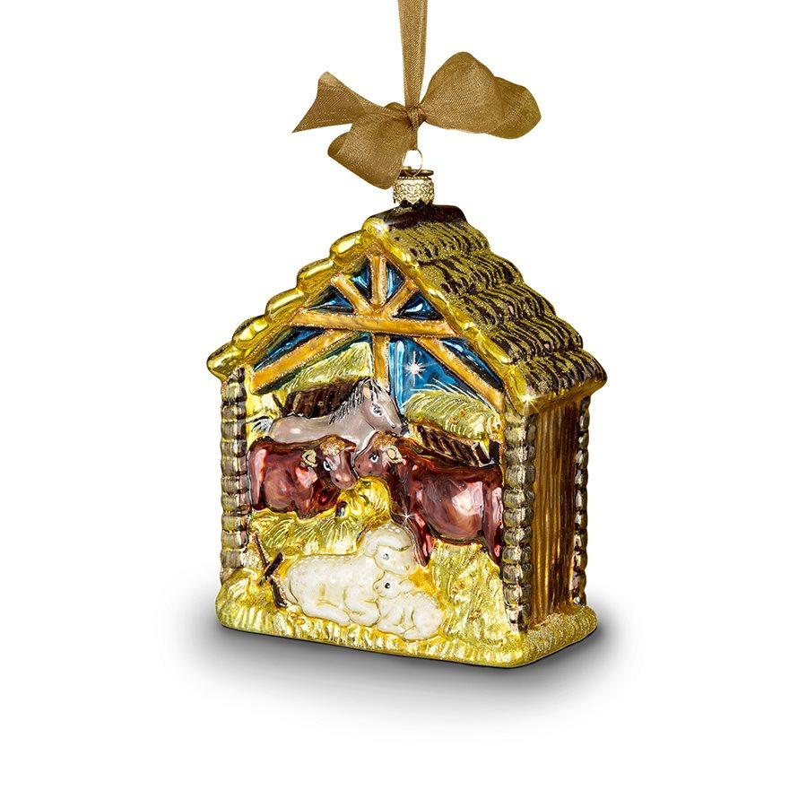 Jay Strongwater Holy Family Glass Ornament SDH2107-250