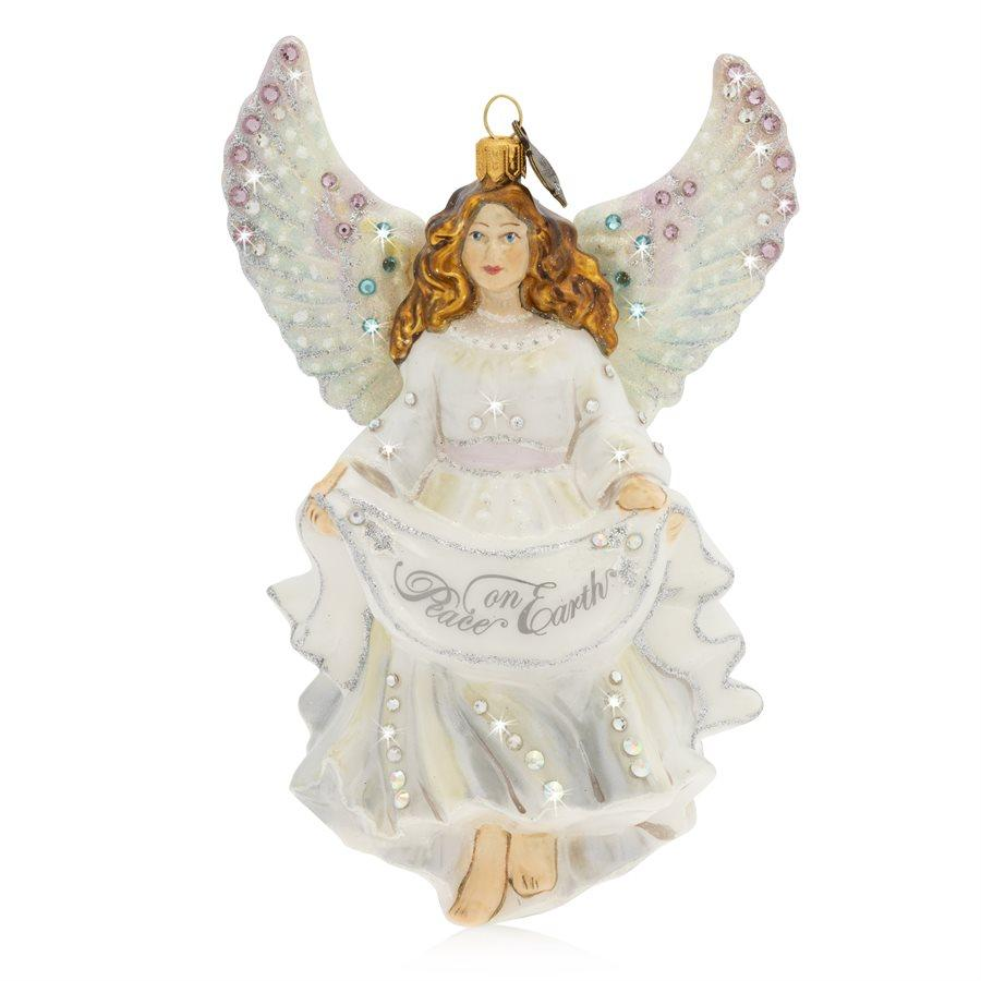Jay Strongwater Angel Peace on Earth Glass Ornament SDH2243-283
