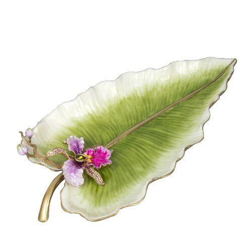 Jay Strongwater Brock Leaf And Orchid Tray SDH2388-456