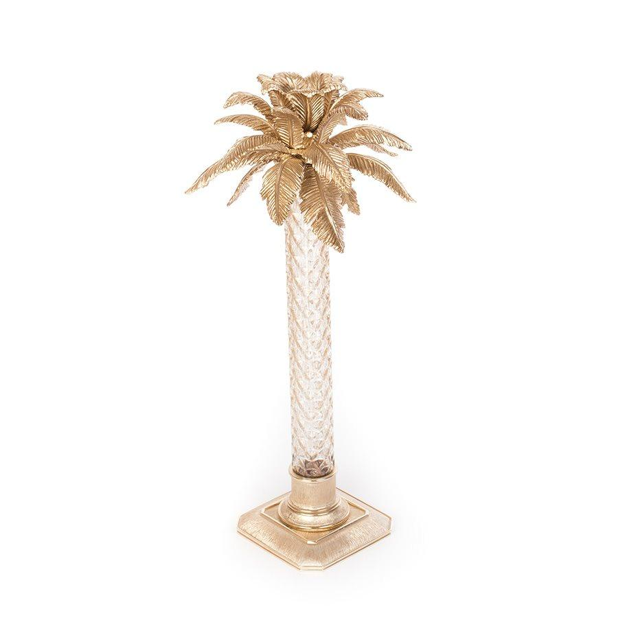 Jay Strongwater Delmont Palm Leaf Gilded Glass Candlestick- Gold SDH2404-292