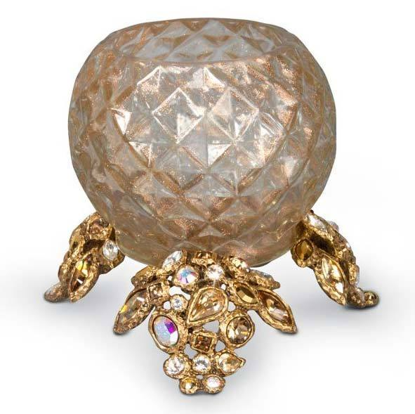 Jay Strongwater Tessa Golden Bejeweled Tealight SDH6584-232