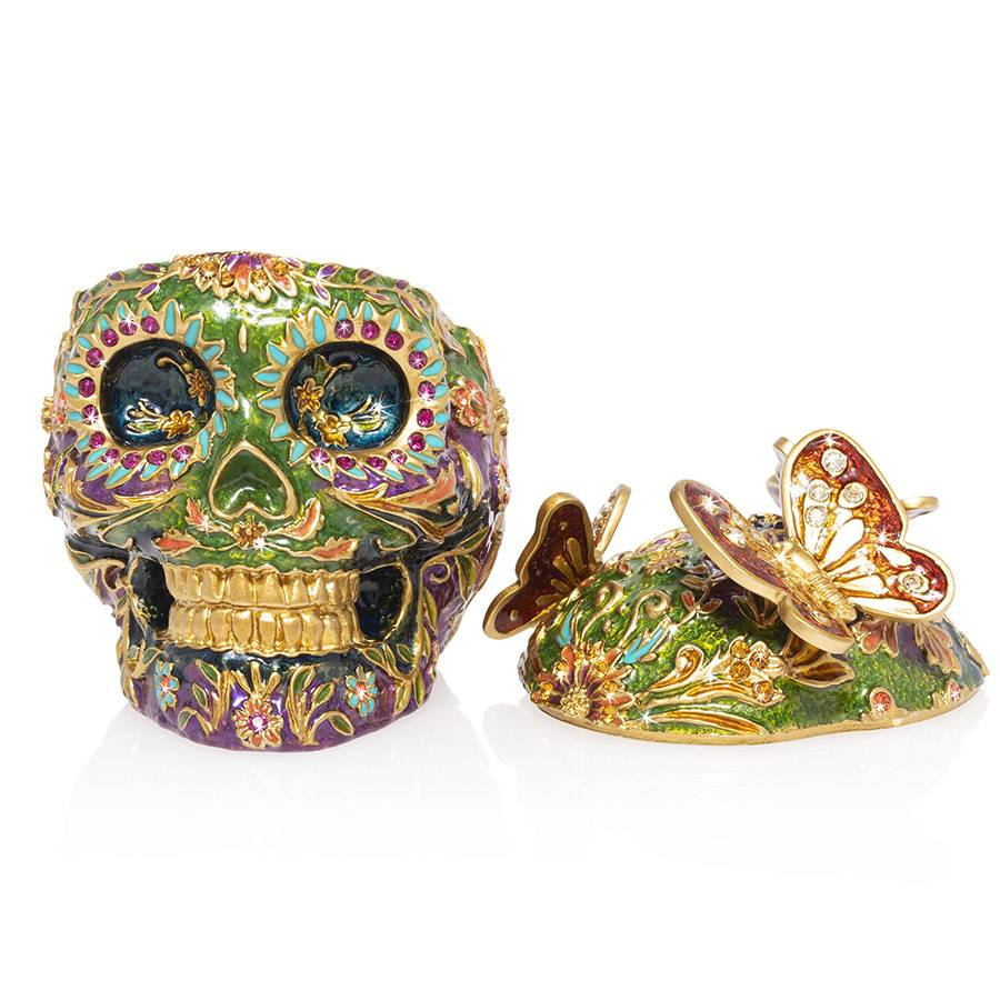 Jay Strongwater Rivera Skull With Butterflies Figurine Box SDH7406-289