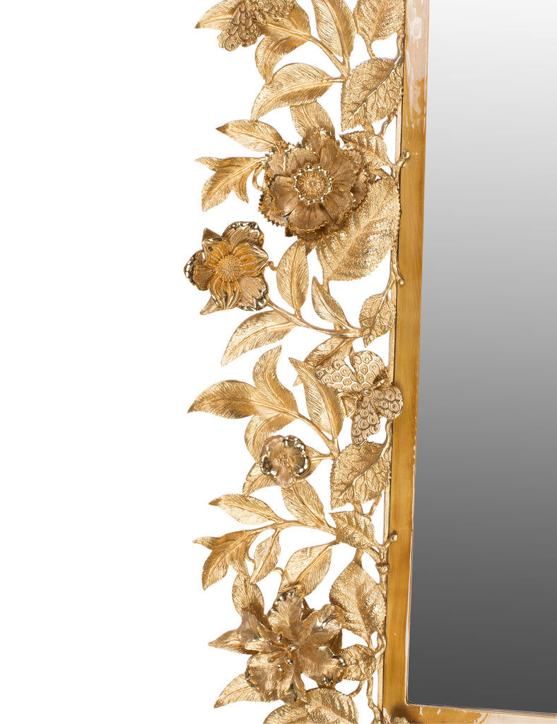 Jay Strongwater Camille Gilded Floral Leaf Mirror Golden SHM3025-292