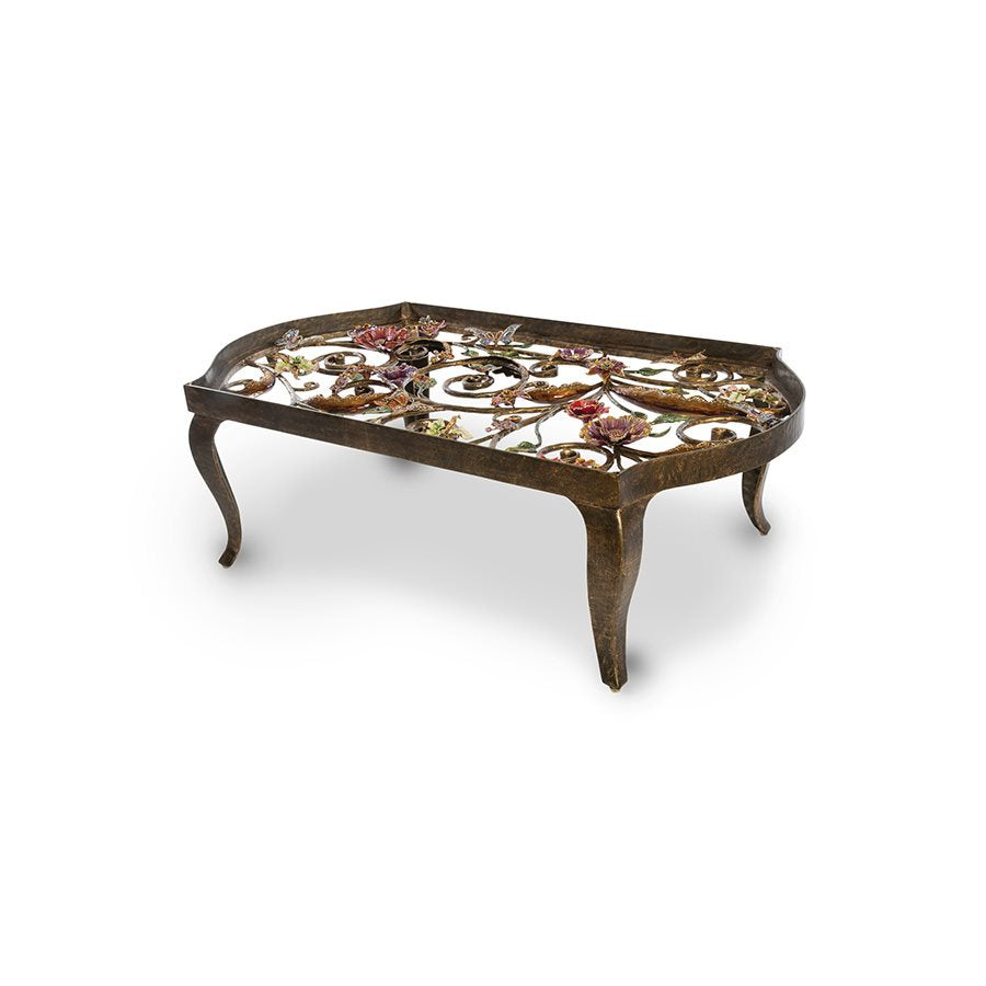 Jay Strongwater Everett Floral & Scroll Coffee Table SHW3299-450
