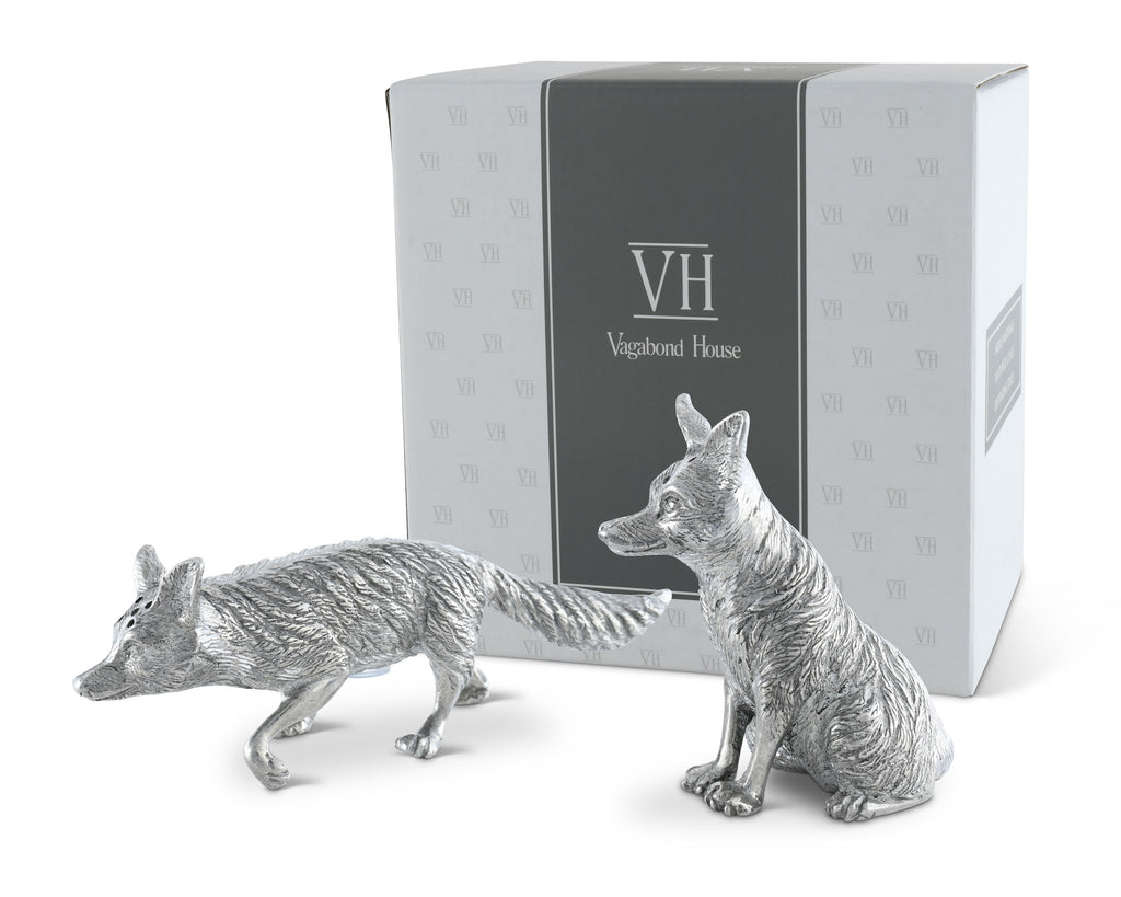 Vagabond House Morning Hunt Pewter Foxes Salt & Pepper Set V116F
