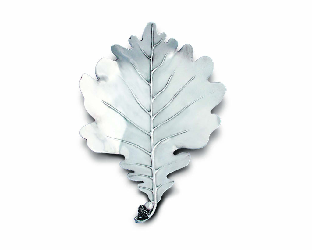 Vagabond House Majestic Forest Pewter White Oak Leaf Plate V916W-1