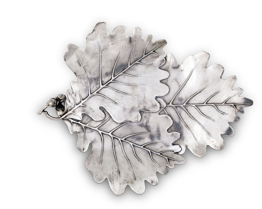 Vagabond House Majestic Forest Pewter White Oak Leaf Platter V917