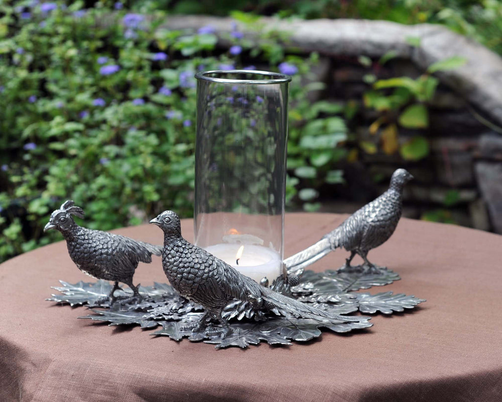 Vagabond House Morning Hunt Pewter Pheasants Pillar Hurricane Centerpiece V919