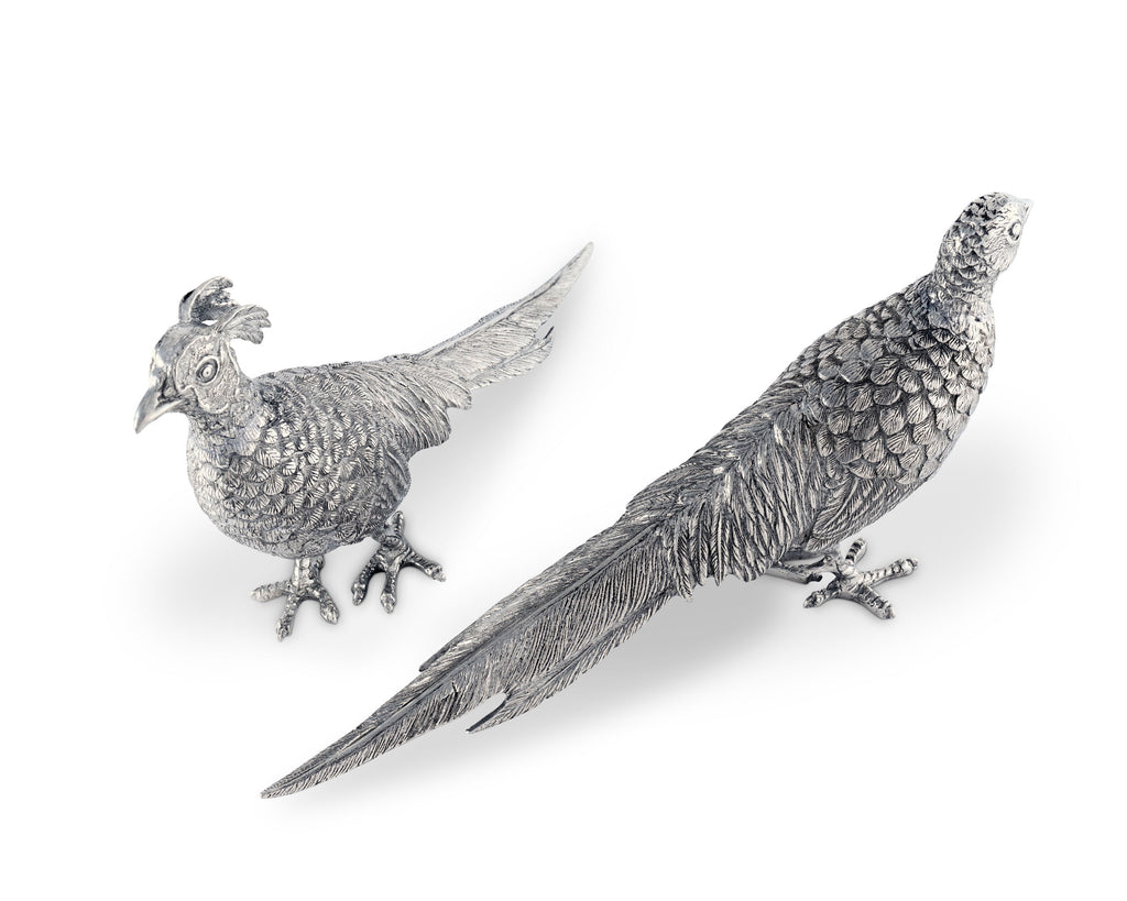 Vagabond House Morning Hunt Pewter Pheasant Statuettes V920