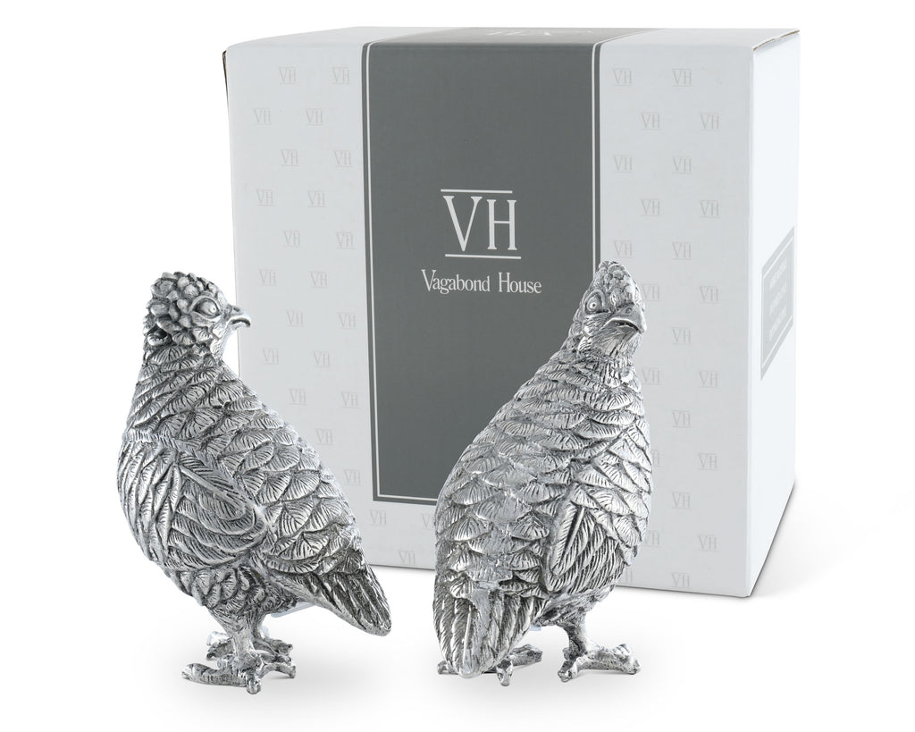 Vagabond House Morning Hunt Standing Quails Salt & Pepper Set V923