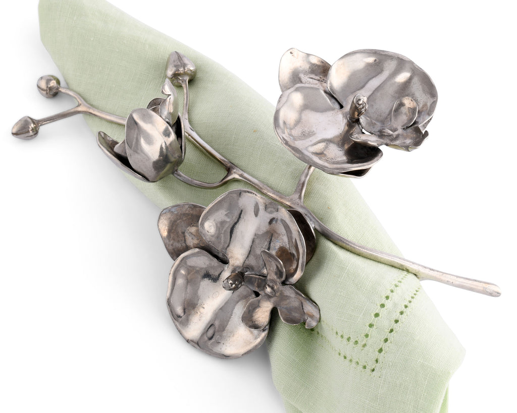 Vagabond House Tropical Tales Pewter Orchid Napkin Ring V932-1