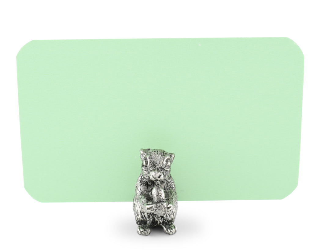Vagabond House Woodland Creatures Pewter Squirrel Place Card Holder V959S-1