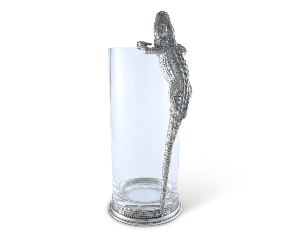 Vagabond House Tropical Tales Glass Pitcher Pewter Alligator Handle V992