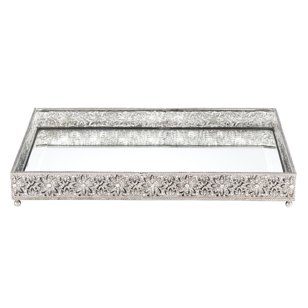Olivia Riegel Silver Windsor Large Beveled Mirror Tray VT0001