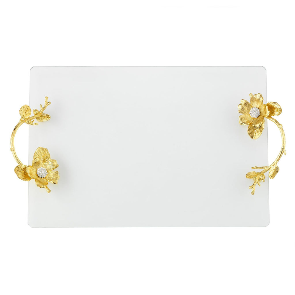 Olivia Riegel Gold Botanica Glass Tray VT9000