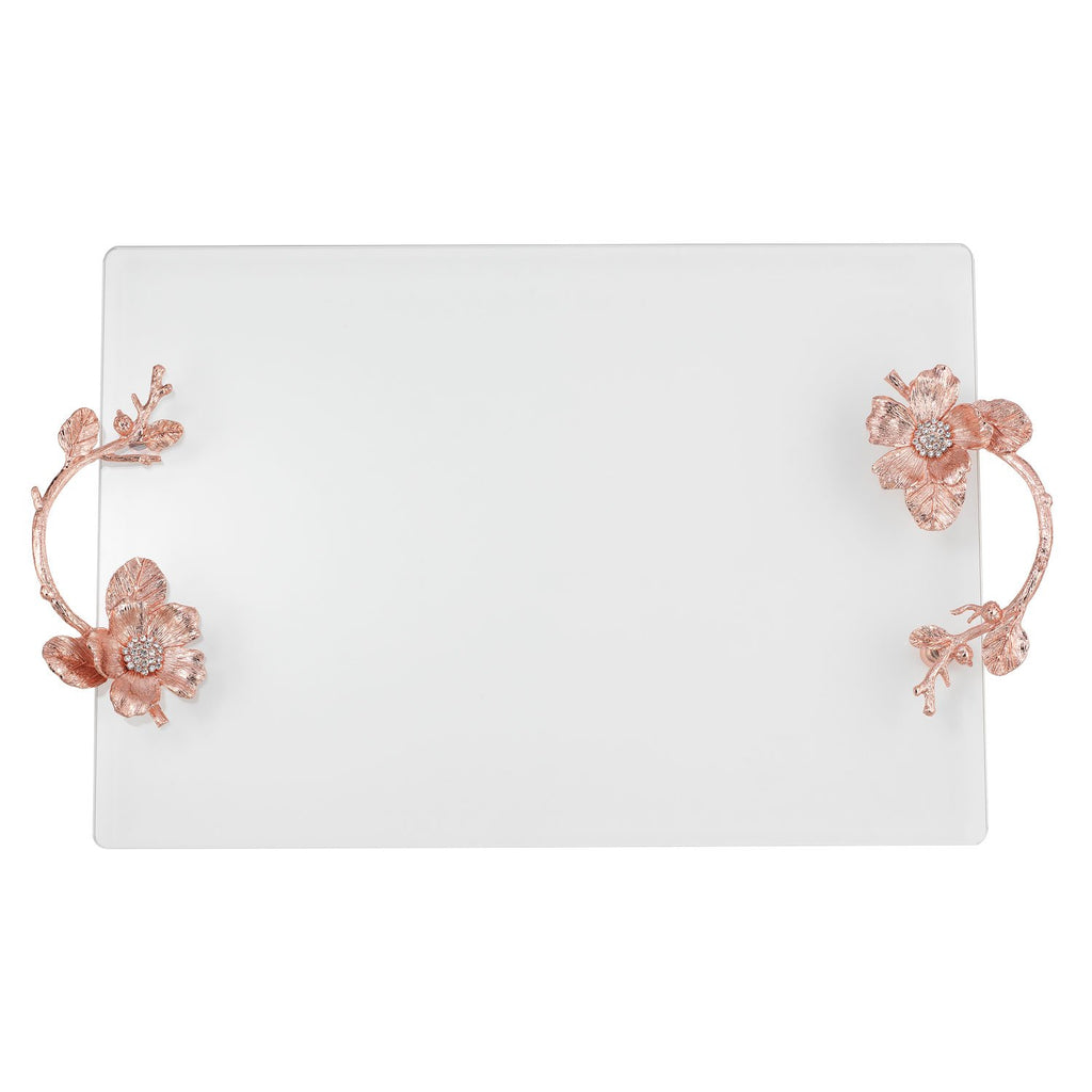 Olivia Riegel Rose Gold Botanica Glass Tray VT9005